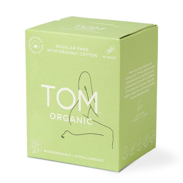 Regular Ultra Thin Pads 10pk, Tom Organic, Period Pads