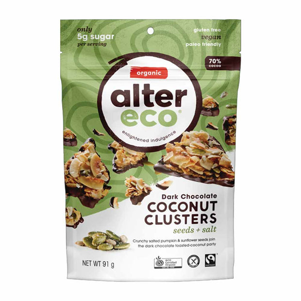 Seeds & Salt Coconut Clusters 91g (70% Cacao), Alter Eco, Clusters