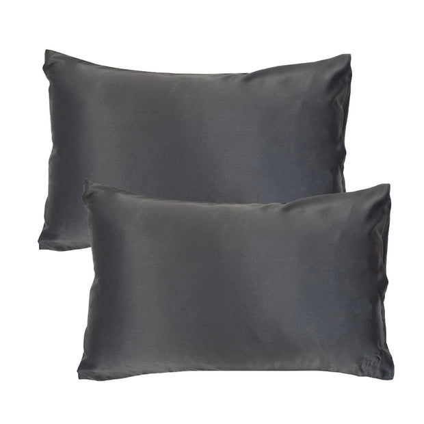 Silk Pillowcase Twin Set - Charcoal, The Goodnight Sleep Co, Pillowcase