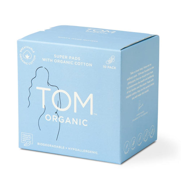 Super Ultra Thin Pads 10pk, Tom Organic, Period Pads