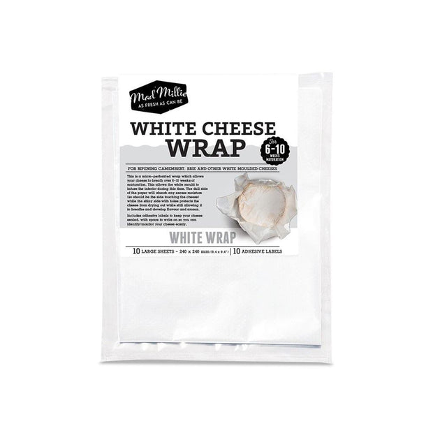 White Cheese Wrap - 10pk 24x24cm, Mad Millie, Cheese Wrap