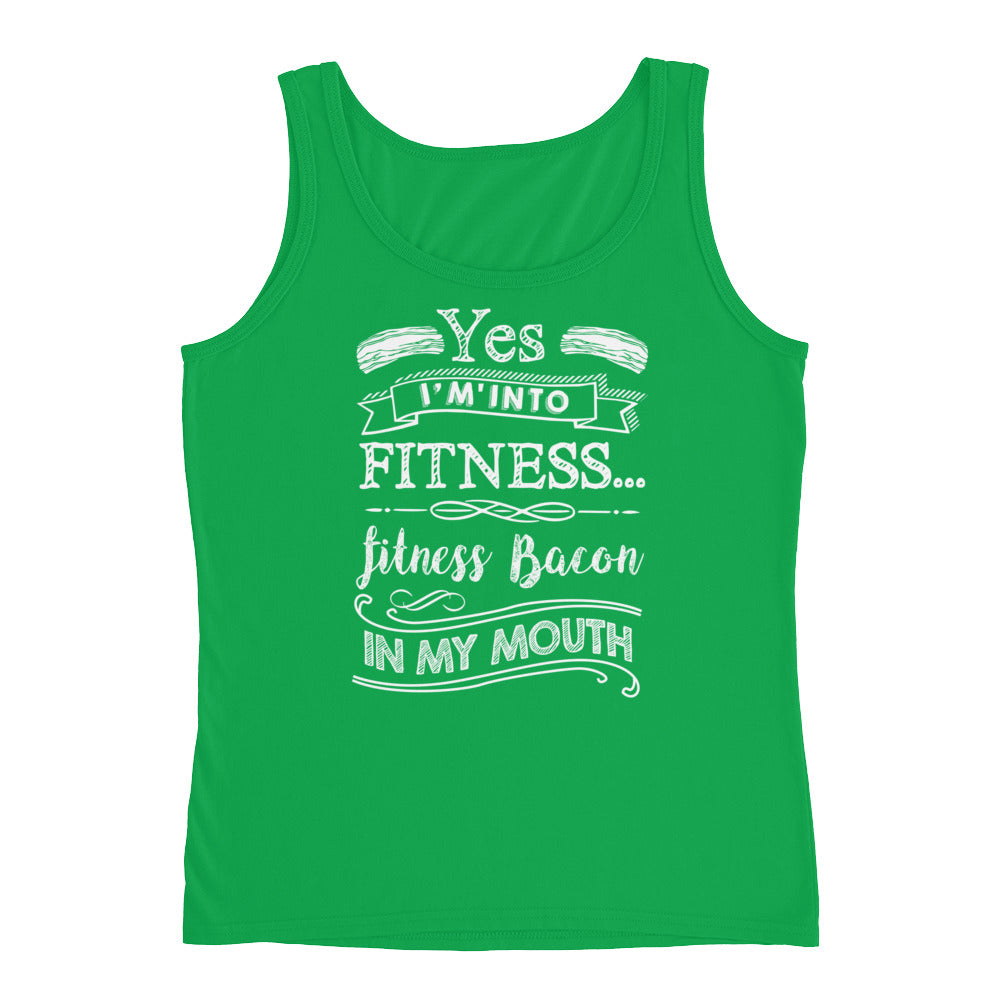 Yes I'm Into Fitness...Fitness Bacon In My Mouth Front Ladies' Tank-Goodbye Carbs