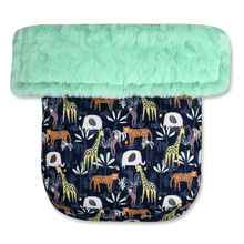 Load image into Gallery viewer, Jungle Animals Navy/Faux Fur Mint - Percy and Paige tiny traveller footmuff pram blanket best footmuffs universal footmuff australian made footmuffs warm and practical
