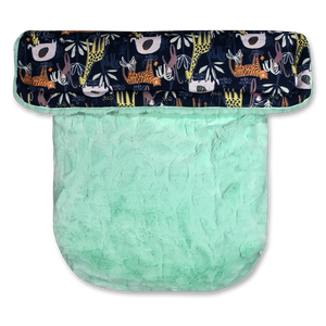 Jungle Animals Navy/Faux Fur Mint - Percy and Paige tiny traveller footmuff pram blanket best footmuffs universal footmuff australian made footmuffs warm and practical