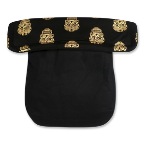 Gold Skulls/Black Fleece - Percy and Paige tiny traveller footmuff pram blanket best footmuffs universal footmuff australian made footmuffs warm and practical
