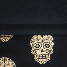 Load image into Gallery viewer, Gold Skulls/Black Fleece - Percy and Paige tiny traveller footmuff pram blanket best footmuffs universal footmuff australian made footmuffs warm and practical
