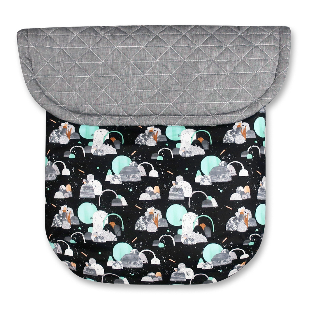Space Age Black/Quilted Grey Melange - Percy and Paige tiny traveller footmuff pram blanket best footmuffs universal footmuff australian made footmuffs warm and practical