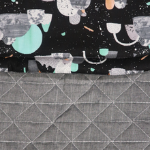Load image into Gallery viewer, Space Age Black/Quilted Grey Melange - Percy and Paige tiny traveller footmuff pram blanket best footmuffs universal footmuff australian made footmuffs warm and practical