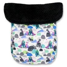 Load image into Gallery viewer, Mystical Dinosaur / Plush Black Polar Fleece - Percy and Paige tiny traveller footmuff pram blanket best footmuffs universal footmuff australian made footmuffs warm and practical