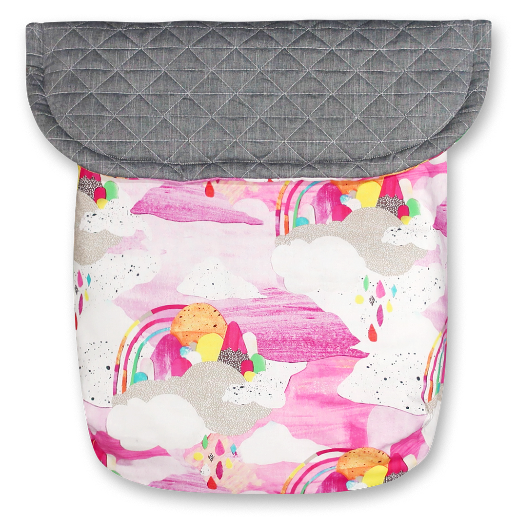 Watercolour Rainbows / Quilted Grey - Percy and Paige tiny traveller footmuff pram blanket best footmuffs universal footmuff australian made footmuffs warm and practical
