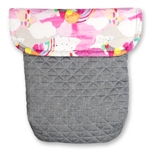 Load image into Gallery viewer, Watercolour Rainbows / Quilted Grey - Percy and Paige tiny traveller footmuff pram blanket best footmuffs universal footmuff australian made footmuffs warm and practical