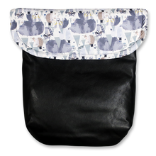 Load image into Gallery viewer, Weather resistant Footmuff- Dapper Forest Friends / Black faux Leather - Percy and Paige tiny traveller footmuff pram blanket best footmuffs universal footmuff australian made footmuffs warm and practical