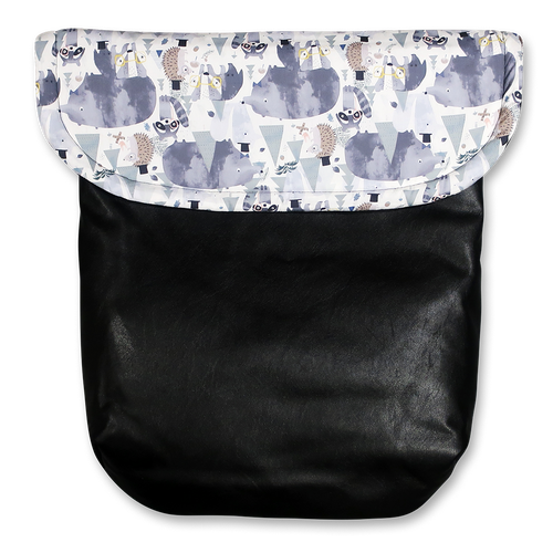 Weather resistant Footmuff- Dapper Forest Friends / Black faux Leather - Percy and Paige tiny traveller footmuff pram blanket best footmuffs universal footmuff australian made footmuffs warm and practical