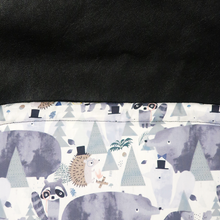 Load image into Gallery viewer, Weather resistant Footmuff- Dapper Forest Friends / Black faux Leather - Percy and Paige
