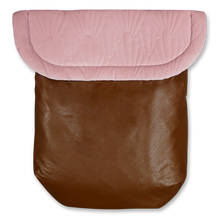 Load image into Gallery viewer, Weather resistant Footmuff- brown faux Leather / Quilted Velvet blush - Percy and Paige tiny traveller footmuff pram blanket best footmuffs universal footmuff australian made footmuffs warm and practical
