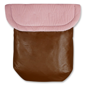 Weather resistant Footmuff- brown faux Leather / Quilted Velvet blush - Percy and Paige tiny traveller footmuff pram blanket best footmuffs universal footmuff australian made footmuffs warm and practical