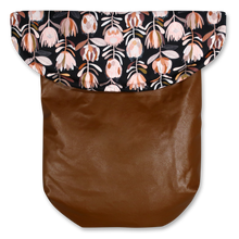Load image into Gallery viewer, Weather Resistant Footmuff- Brown Faux Leather/Protea Black - Percy and Paige tiny traveller footmuff pram blanket best footmuffs universal footmuff australian made footmuffs warm and practical