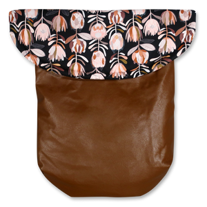 Weather Resistant Footmuff- Brown Faux Leather/Protea Black - Percy and Paige