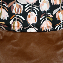 Load image into Gallery viewer, Weather Resistant Footmuff- Brown Faux Leather/Protea Black - Percy and Paige