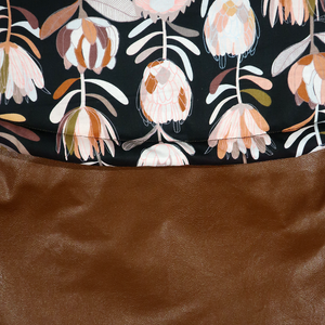 Weather Resistant Footmuff- Brown Faux Leather/Protea Black - Percy and Paige tiny traveller footmuff pram blanket best footmuffs universal footmuff australian made footmuffs warm and practical