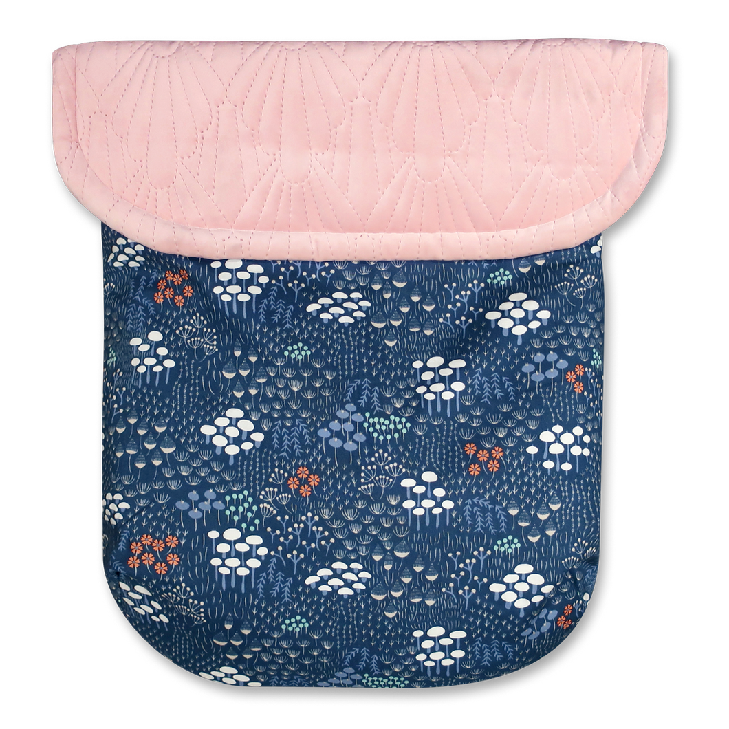 Navy Wild Flowers/Pink Quilted Velvet - Percy and Paige