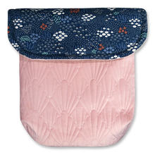 Load image into Gallery viewer, Navy Wild Flowers/Pink Quilted Velvet - Percy and Paige tiny traveller footmuff pram blanket best footmuffs universal footmuff australian made footmuffs warm and practical