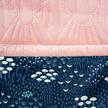 Load image into Gallery viewer, Navy Wild Flowers/Pink Quilted Velvet - Percy and Paige