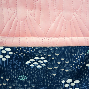 Navy Wild Flowers/Pink Quilted Velvet - Percy and Paige tiny traveller footmuff pram blanket best footmuffs universal footmuff australian made footmuffs warm and practical