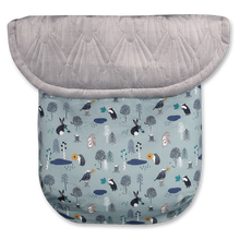 Load image into Gallery viewer, Woodland Animals Ice Blue / Quilted Velvet Grey - Percy and Paige