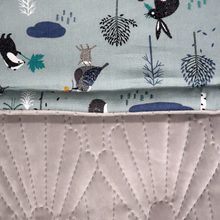 Load image into Gallery viewer, Woodland Animals Ice Blue / Quilted Velvet Grey - Percy and Paige tiny traveller footmuff pram blanket best footmuffs universal footmuff australian made footmuffs warm and practical