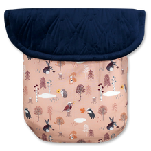 Load image into Gallery viewer, Woodland Animals Dusty Pink / Quilted Velvet Navy Blue - Percy and Paige