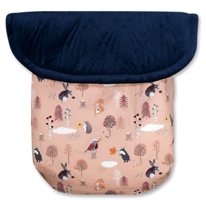 Woodland Animals Dusty Pink / Quilted Velvet Navy Blue - Percy and Paige tiny traveller footmuff pram blanket best footmuffs universal footmuff australian made footmuffs warm and practical