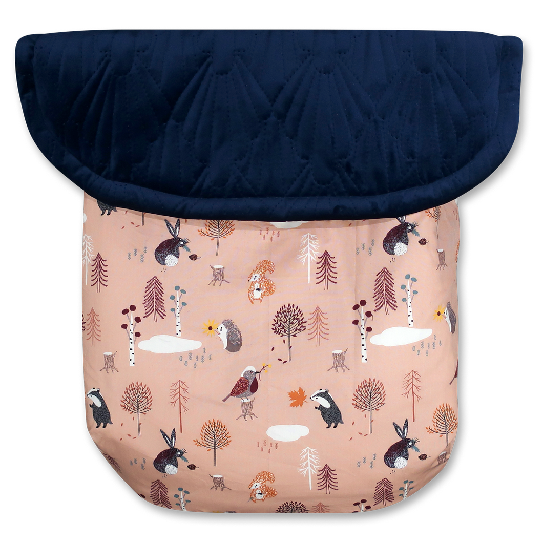 Woodland Animals Dusty Pink / Quilted Velvet Navy Blue - Percy and Paige