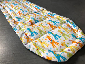 Custom liner made for your model of pram- multi coloured giraffe - Percy and Paige tiny traveller footmuff pram blanket best footmuffs universal footmuff australian made footmuffs warm and practical