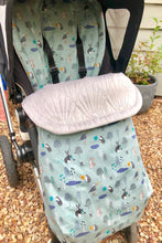 Load image into Gallery viewer, Woodland animals- Ice Blue - Percy and Paige tiny traveller footmuff pram blanket best footmuffs universal footmuff australian made footmuffs warm and practical