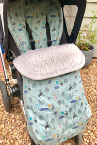 Woodland animals- Ice Blue - Percy and Paige tiny traveller footmuff pram blanket best footmuffs universal footmuff australian made footmuffs warm and practical