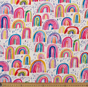 Custom liner- multi coloured rainbows - Percy and Paige tiny traveller footmuff pram blanket best footmuffs universal footmuff australian made footmuffs warm and practical