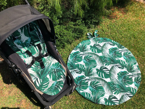 Tiny Traveller Playmat- monstera - Percy and Paige tiny traveller footmuff pram blanket best footmuffs universal footmuff australian made footmuffs warm and practical