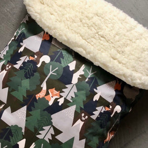 Hiding animals/Sherpa - Percy and Paige tiny traveller footmuff pram blanket best footmuffs universal footmuff australian made footmuffs warm and practical