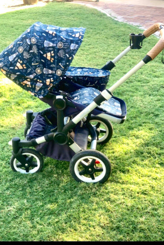 Bugaboo donkey-custom extendable hood - Percy and Paige tiny traveller footmuff pram blanket best footmuffs universal footmuff australian made footmuffs warm and practical