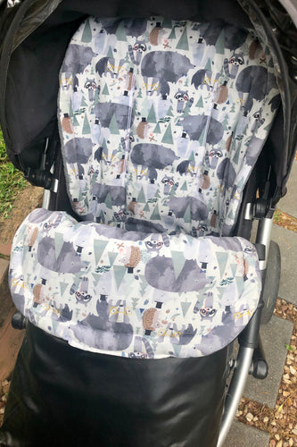 Custom liner and footmuff set-dapper animals/black leather - Percy and Paige tiny traveller footmuff pram blanket best footmuffs universal footmuff australian made footmuffs warm and practical