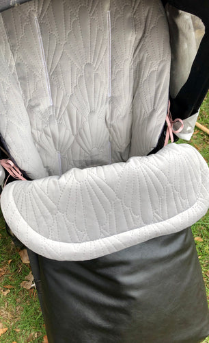 Custom liner and footmuff set- grey quilted velvet/black leather - Percy and Paige tiny traveller footmuff pram blanket best footmuffs universal footmuff australian made footmuffs warm and practical