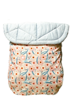 Load image into Gallery viewer, Eucalyptus flowers/Blue quilted cotton - Percy and Paige tiny traveller footmuff pram blanket best footmuffs universal footmuff australian made footmuffs warm and practical