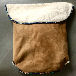 Brown faux Suede - Percy and Paige tiny traveller footmuff pram blanket best footmuffs universal footmuff australian made footmuffs warm and practical