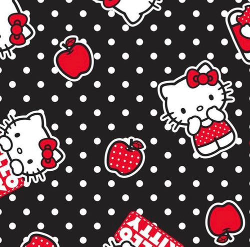 Hello kitty black polkerdot - Percy and Paige tiny traveller footmuff pram blanket best footmuffs universal footmuff australian made footmuffs warm and practical