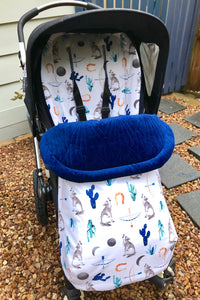 Custom liner- Wolves and cactus - Percy and Paige tiny traveller footmuff pram blanket best footmuffs universal footmuff australian made footmuffs warm and practical