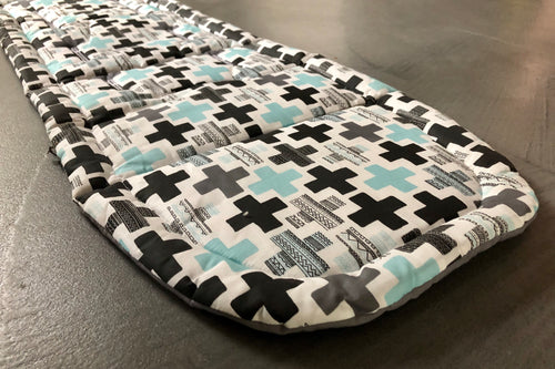 City mini/GT single Anti slip Pram Liner- Aqua crosses - Percy and Paige tiny traveller footmuff pram blanket best footmuffs universal footmuff australian made footmuffs warm and practical