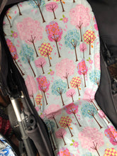 Load image into Gallery viewer, Universal liner- trees pink and aqua - Percy and Paige tiny traveller footmuff pram blanket best footmuffs universal footmuff australian made footmuffs warm and practical