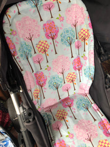 Universal liner- trees pink and aqua - Percy and Paige tiny traveller footmuff pram blanket best footmuffs universal footmuff australian made footmuffs warm and practical