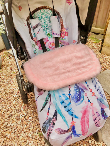 Custom liner and footmuff set- dream catcher - Percy and Paige tiny traveller footmuff pram blanket best footmuffs universal footmuff australian made footmuffs warm and practical